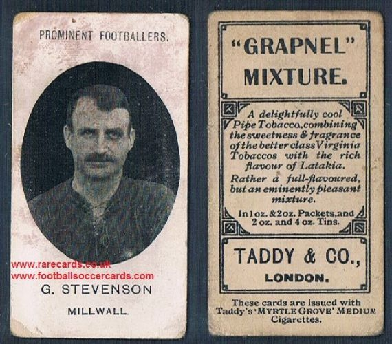 1908 Taddy 2nd series G Stevenson Millwall footnote tobacco card